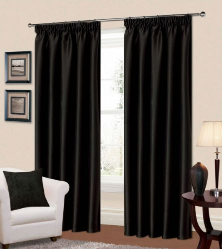PLAIN BLACK COLOUR THERMAL BLACKOUT READYMADE BEDROOM LIVINGROOM CURTAINS PENCIL PLEAT